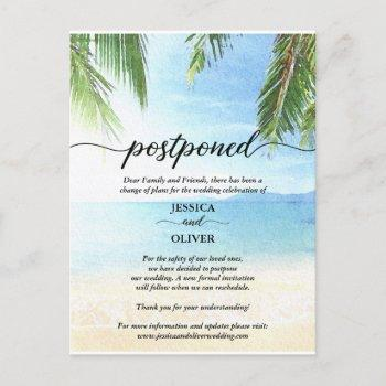 beach postponed wedding announcement postcards