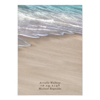 Small Beach Sand Hearts Elegant Tropical Modern Wedding Invitation Back View