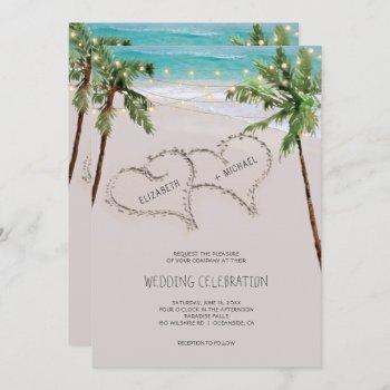 beach sand hearts tropical palm   modern wedding invitation