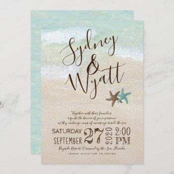 beach sand typography starfish wedding invitation