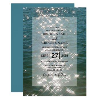 beach sea water sparkles wedding invitations