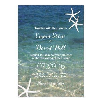 beach starfish elegant summer wedding invitation