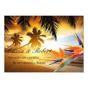 beach sunset palm trees bird of paradise reception invitation