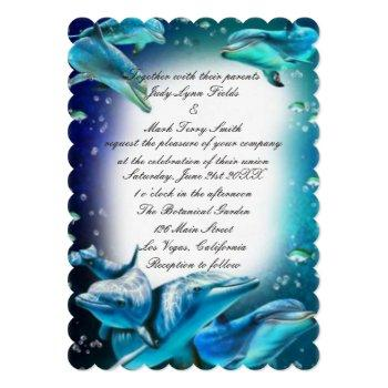 Small Beach Theme Dolphin Wedding Invitation Front View