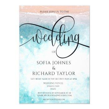 beach themed watercolor  calligraphy ocean tropic invitation