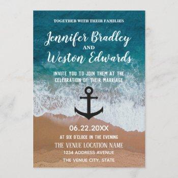 beach waves monogram anchor nautical wedding invitation