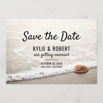 beach waves wedding save the date invitation