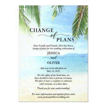 Small Beach Wedding Cancellation Announcement Postcards Front View