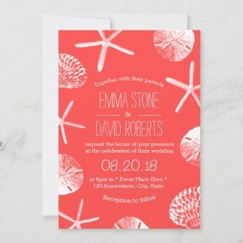 beach wedding coral red starfish & seashells invitation