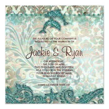 Small Beach Wedding Invitation Dolphins Vintage Teal Front View