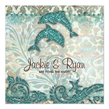 Small Beach Wedding Invitation Dolphins Vintage Teal Back View