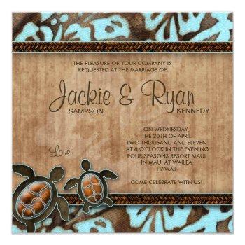 beach wedding invitation turtle blue brown