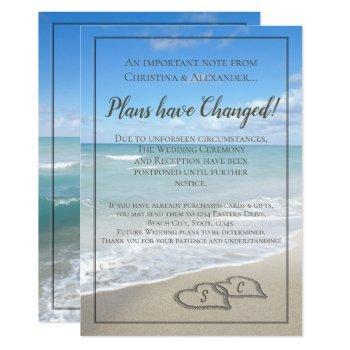 beach wedding postponed cancelled postponement invitation