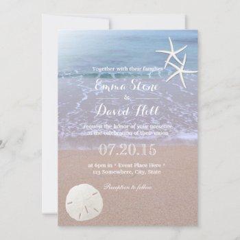beach wedding sand dollar & starfish invitation