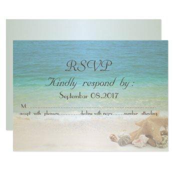 beach wedding seashells  rsvp invitation