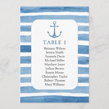 beach wedding seating chart. nautical blue anchor invitation