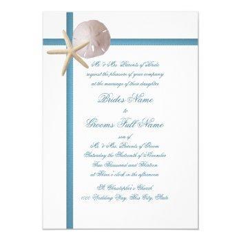 beach wedding starfish and sand dollar blue invitation