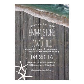 beach wedding starfish & waves rustic wood invitation