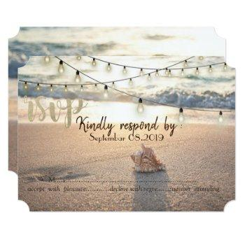 beach wedding,string lights seashell rsvp invitation