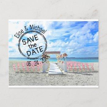 beach wedding sunset passport stamp save the date  invitation postcard