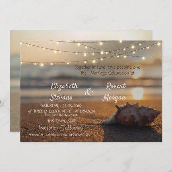 beach wedding sunset seashell  invitation
