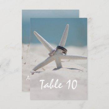 beach wedding table place number invitation