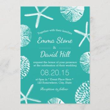 beach wedding tropical seashells modern turquoise invitation