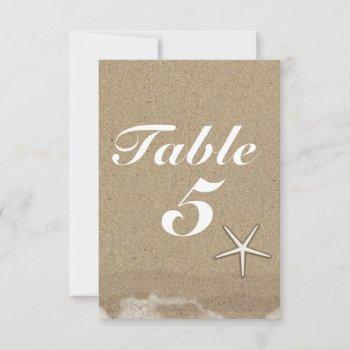 beach wet sand & starfish party table number card
