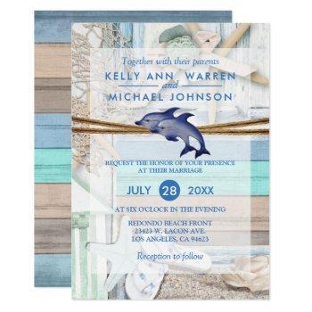 beachfront dolphin wedding invitation