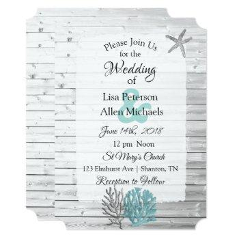 beachy white washed wood  wedding invitations