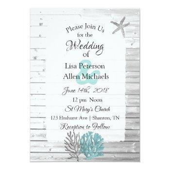 Small Beachy White Washed Wood  Wedding Invitations Front View
