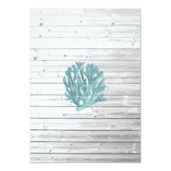 Small Beachy White Washed Wood  Wedding Invitations Back View