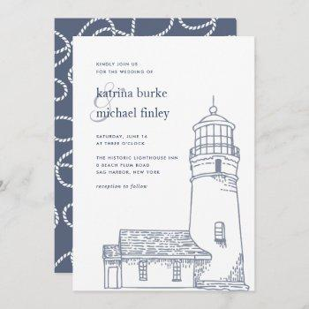 beacon | nautical lighthouse wedding invitation