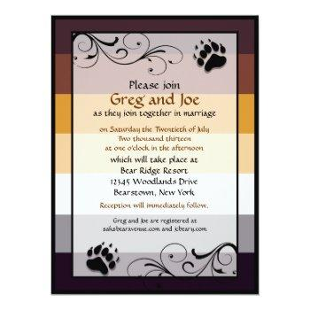 bear pride custom gay wedding invitations