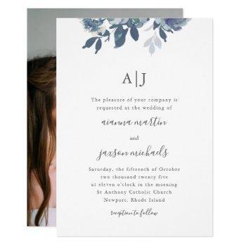 beautiful blue floral with monogram photo wedding invitation