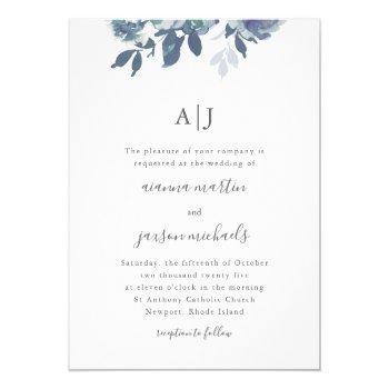 beautiful blue watercolor floral monogram wedding invitation