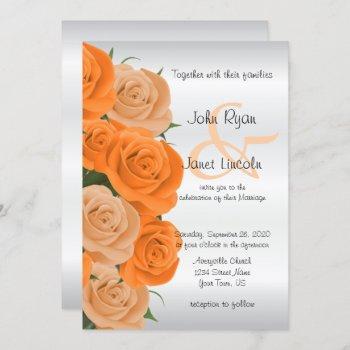 beautiful orange rose flower wedding invitations