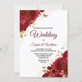 beautiful red roses elegant wedding invitation