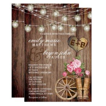 beautiful rustic wood barrel and mauve floral invitation