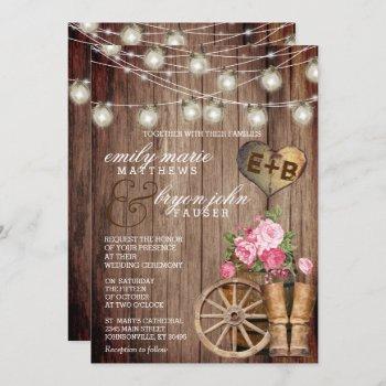 beautiful rustic wood barrel and mauve floral invitation