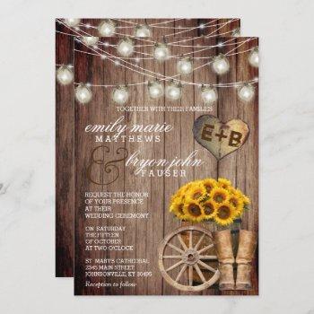 beautiful rustic wood barrel and sunflowers invitation