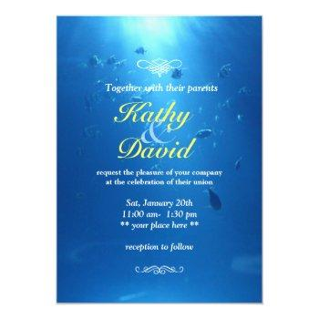 Small Beautiful Underwater Sea Themed Wedding Invitation Front View