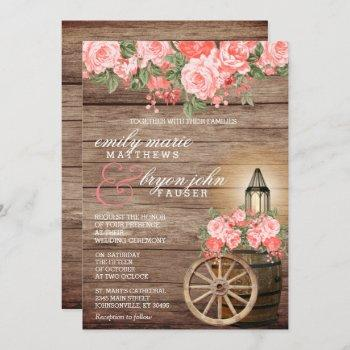 beautiful weathered wood barrel and coral flowers invitation