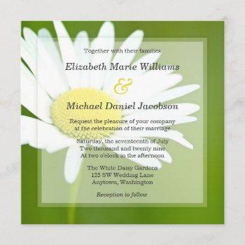 beautiful white daisy wedding invitations