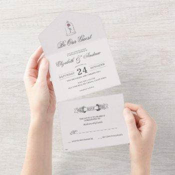 beauty and the beast | enchanted rose wedding  all all in one invitation