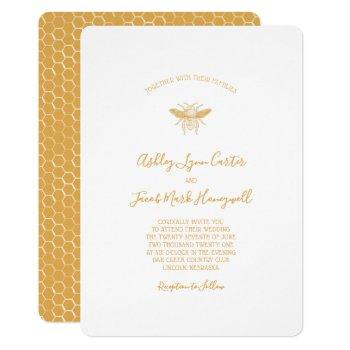 bee and golden honeycomb pattern invitation