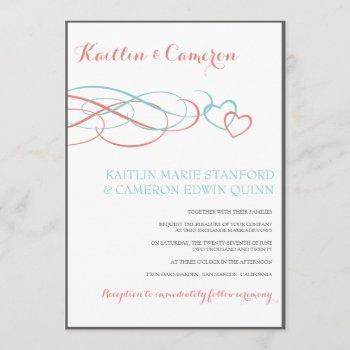 beloved (tiffany, coral & gray) wedding invites