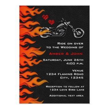 biker motorcycle black leather flames invitation
