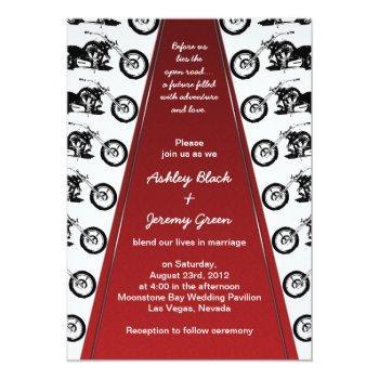 biker or motorcycle red carpet wedding invitation