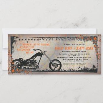 biker or motorcycle wedding invitation